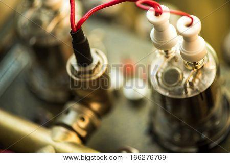 Electronic vacuum tube - techincs background macro photo