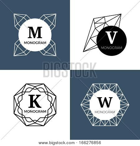 Abstract jewel gems, diamond jewellery, crystal shapes vector monograms, logos. Shape of line diamond, illustration of linear diamond monogram
