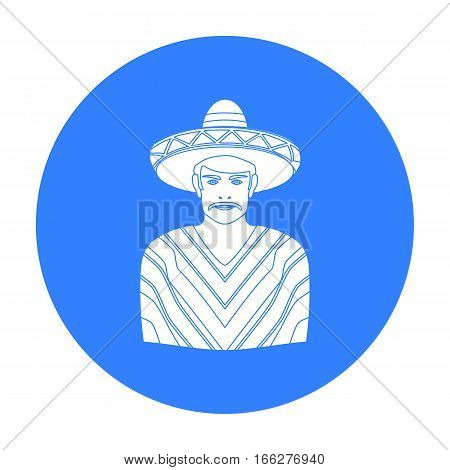 Mexican man in sombrero and poncho icon in blue style isolated on white background. Mexico country symbol vector illustration.
