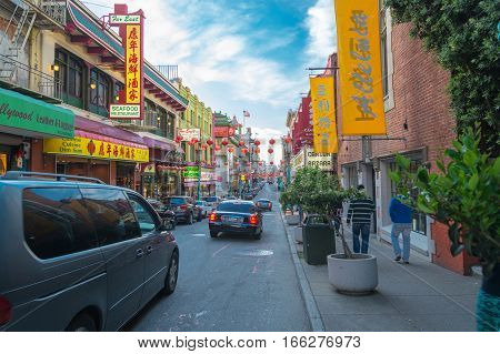 SAN FRANCISCO USA - MAY 4 2014: Chinatown district in San Francisco