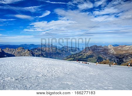Mt. Titlis, Switzerland - 12 October, 2015: Alps, view from Mount Titlis. Mount Titlis is a mountain of the Uri Alps, located on the border between the Swiss Cantons of Obwalden and Bern.