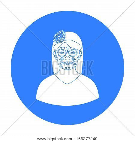 Mexican woman with calavera make up icon in blue style isolated on white background. Mexico country symbol vector illustration.