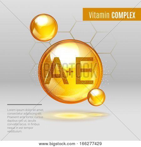 Vitamin A+e Gold Shining Pill Capcule Icon . Vitamin Complex With Chemical Formula, Tocotrienols, Re
