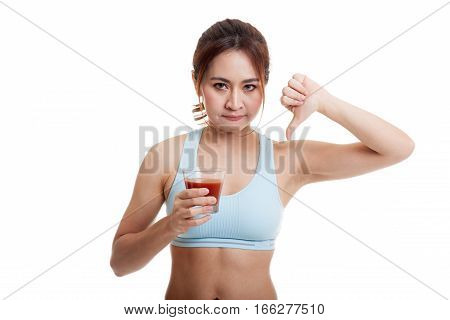 Beautiful Healthy Asian Girl Hate Tomato Juice Thumbs Down.