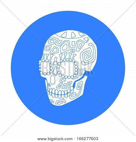 Mexican calavera skull icon in blue style isolated on white background. Mexico country symbol vector illustration.