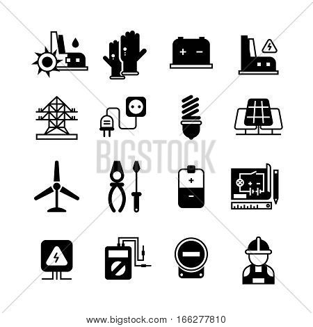 Electric power plant, electricity, electronic tools vector icons. Electric industrial signs set, illustration of black electric transformer silhouette