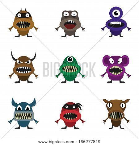 Cute monster set for animation and comics. Humor comic angry animals