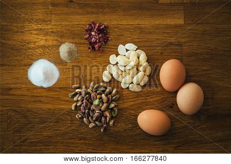 Still life of arranged ingredients on table.From above