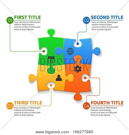 Jigsaw puzzle pieces vector infographic business concept. Business infographic jigsaw illustration