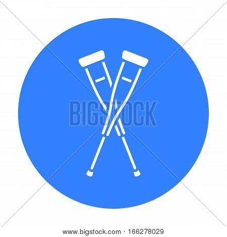 Crutches icon blue. Single medicine icon