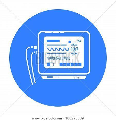 Ecg machine icon blue. Single medicine icon