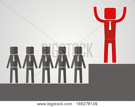 competitor concept. The businessman raised his hands up. vector illustration