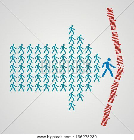 The crowd of workers follows the team leader and divide the competitors