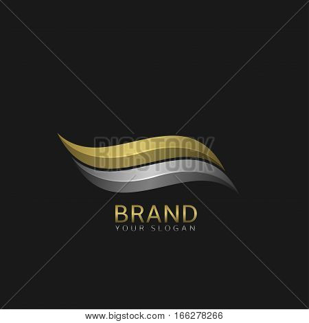 Wave logo template. Watersport sign, yacht club emblem