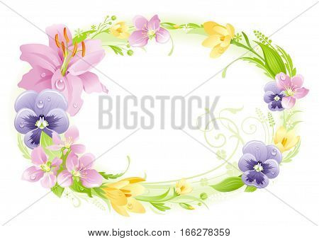 Spring white background. Easter, Mothers day, Birthday, Wedding. Flower frame lily, pansy, crocus, leaf. Isolated floral wreath. Natural pattern, modern vector illustration. springtime greeting card