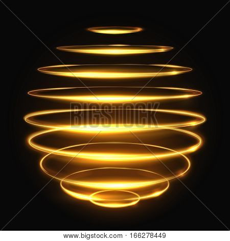 Gold circle light tracing effect, glowing magic 3d sphere vector illustration. Glowing magic bright neon, effect glowing energy element