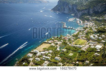 Aerial photo of Capri island in Italy