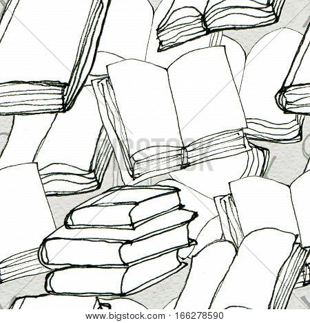 Seamless doodle pattern with books. Library hand drawn sketchy background. Reading and education concept.