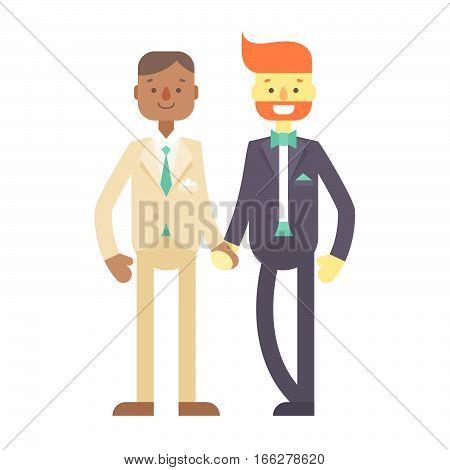 Wedding Couple, Cute Flat Characters, Grooms, Happy Men