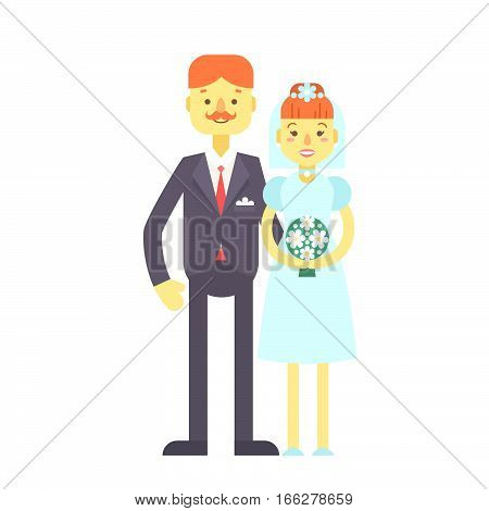 Wedding Couple, Cute Flat Characters, Groom And Bride.
