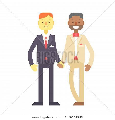 Wedding Couple, Cute Flat Characters, Grooms, Happy Men
