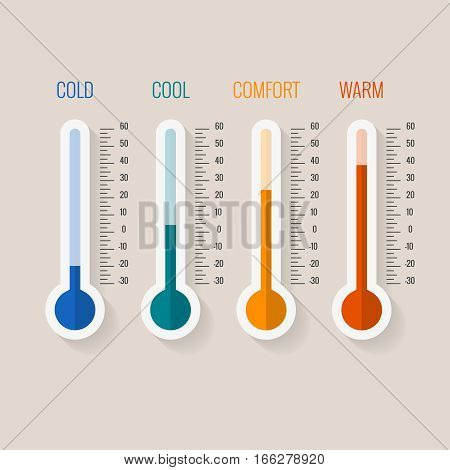 Temperature measurement from cold to hot, thermometer gauges set vector illustration. Temperature thermometer comfortable