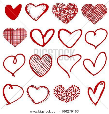 Vintage outline hand drawn sketchy vector hearts. Form heart with pattern lattice, scribble stylized romantic hearts collection illutstration