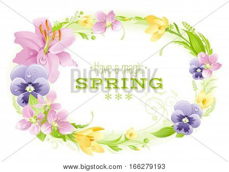 Spring white background. Easter, Mothers day, Birthday, Wedding. Flower frame lily, pansy, crocus, leaf. Isolated wreath. Natural border, vector illustration. springtime greeting card, text lettering
