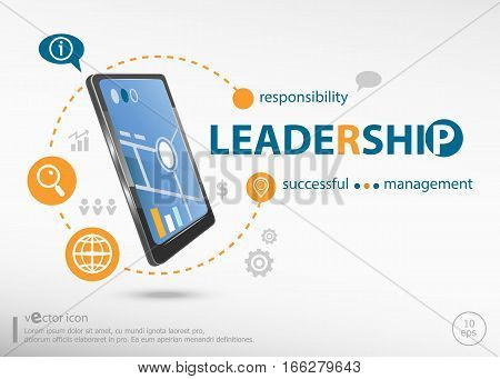 Leadership Word Cloud Concept And Realistic Smartphone Black Color.