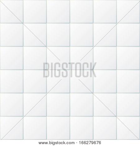 White bathroom tiles, ceramic kitchen floor tile seamless background. Tiled floor or wall for bathroom or kitchen