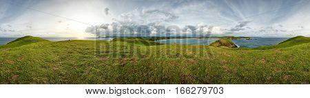 Beautiful view of 360 degrees at sunset time on the green hills of island Lombok. Indonesia