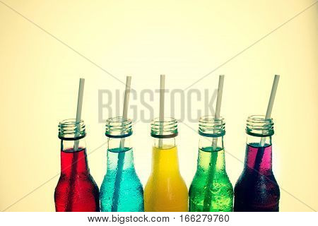 close up the cool colorful drink , vintage color tone