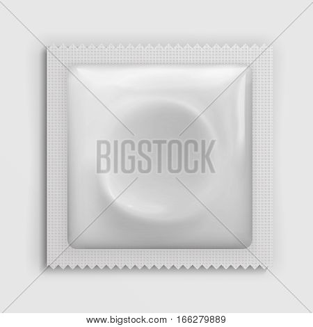 Condom wrapper package white blank template, packaging foil isolated on white. Mock up of packaging for condoms, illustration of condom for protection