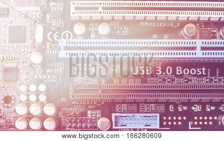 Circuit board. Electronic computer hardware technology. Motherboard digital chip. Tech science background. Information engineering component. Toned picture.