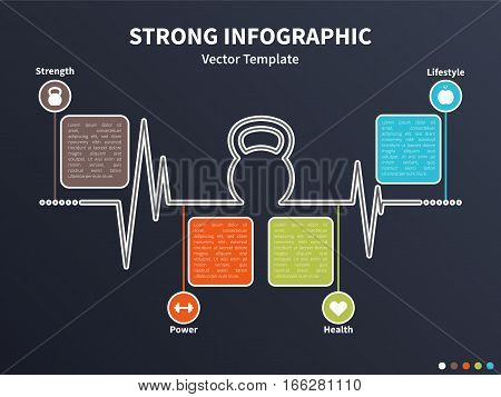 Vector infographic colorful template. Concept with kettlebell stylized element and healthy lifestyle icons on the dark background.