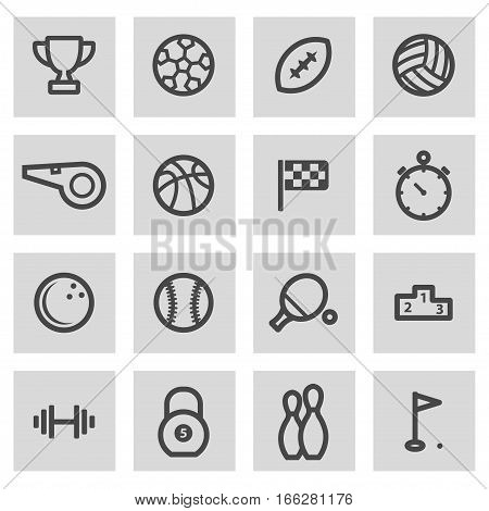 Vector line sport icons set on grey background