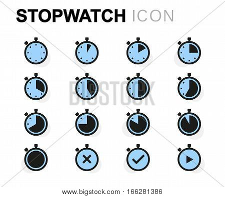 Vector flat stopwatch icons set on white background