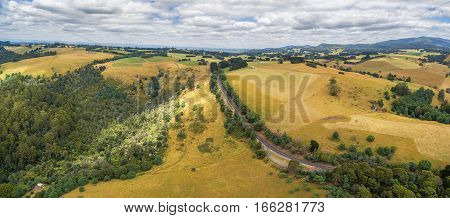 Aerial Panoramic Landscape Of Australian Coutryside