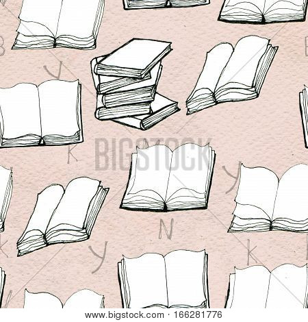 Seamless doodle pattern with open books and letters. Library hand drawn sketchy background. Reading and education concept.