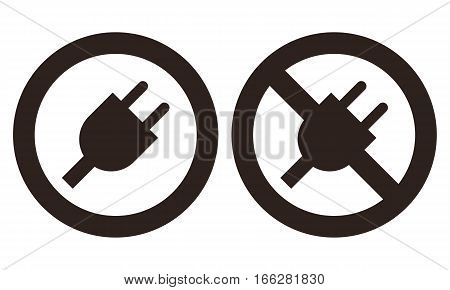Plug and no plug symbol isolated on white background