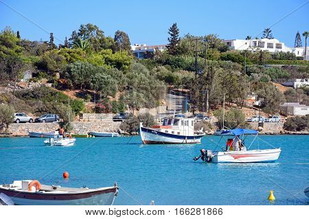 AGIOS NIKOLAOS, CRETE - SEPTEMBER 17, 2016 - Boats moored in St Nicolas Bay Agios Nikolaos Crete Greece Europe, September 17, 2016.