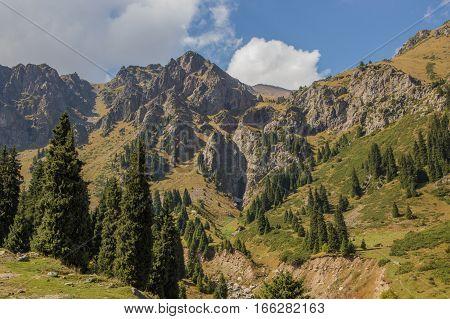 Tuyk su gorge near Shymbulak ski resort. Tien Shan mountains at summer time Almaty Kazakhstan 2016