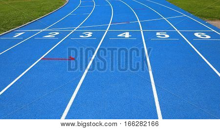Lanes Of A Athletic Track With Numbers One Two Three Four Five S