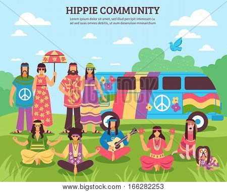 Hippie composition with flat freak characters of flower children faceless characters and rainbow colored minivan house vector illustration