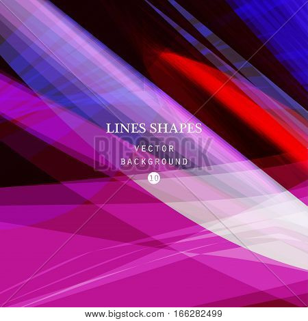 Bright colorful modern striped abstract background vector. Purple blue floral tropical stripes waves lines for banner brochure website and flyer design. Contrast of light shadow and colors