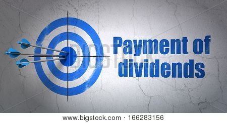 Success money concept: arrows hitting the center of target, Blue Payment Of Dividends on wall background, 3D rendering