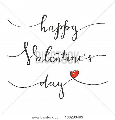 Happy Valentines Day. Greeting card with hand drawing lettering design. EPS10 vector illustration.