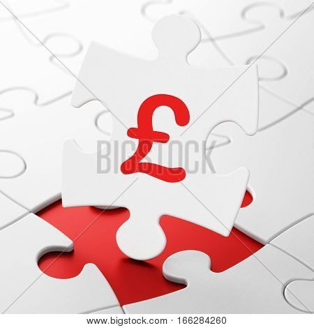Money concept: Pound on White puzzle pieces background, 3D rendering