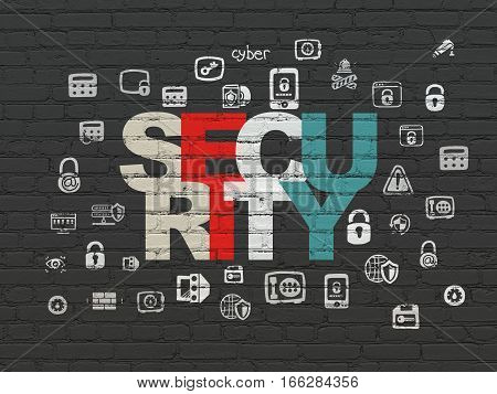 Security concept: Painted multicolor text Security on Black Brick wall background with  Hand Drawn Security Icons