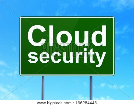 Security concept: Cloud Security on green road highway sign, clear blue sky background, 3D rendering